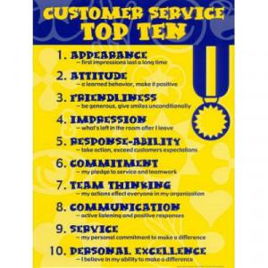 Customer Service Top Ten Motivational Laminated Poster - 18x24