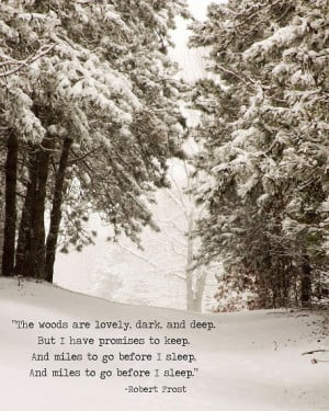 Winter Snow Landscape Robert Frost Quote Trees Woodlands Sepia Rustic ...