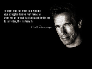 Motivational Quote on Strength by Arnold Schwarzenegger..