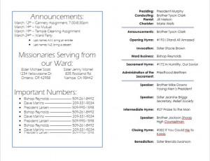 LDS Sacrament Program Template