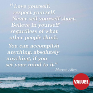 An inspirational quote by Marcus Allen from Values.com