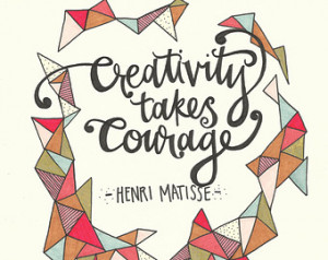 Henri Matisse Hand Lettered Quote- Original Artwork