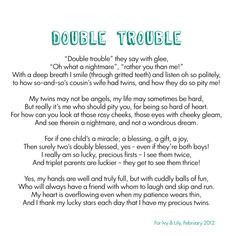 Twin Sister Poems Quotes Double trouble twins poem x