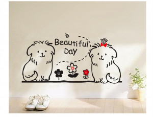 cute dog animal kids wall decals quotes princess love retro art ...