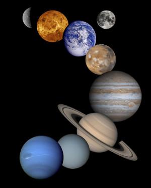 Figura 1 - Mosaico dos planetas do Sistema Solar, incluindo a Lua. Os ...