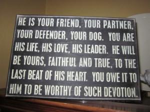Dog loyalty plaque