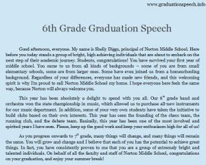 5th, 6th, 7th, 8th Grade Graduation Speech