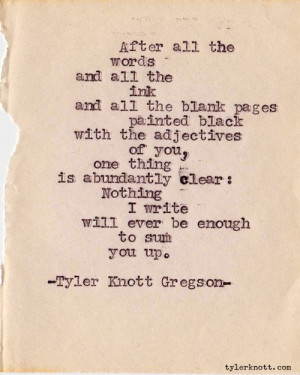 Series #153 by Tyler Knott Gregson Could be a love letter quote ...