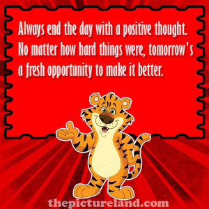 Inspirational Sayings Pictures About Fresh Start With Cartoon Tiger