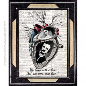 Poe and Virginia art print on vintage dictionary text book page love ...