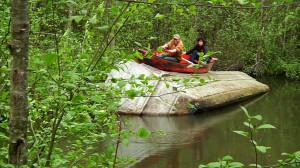 Stencil Funny Canoe River...