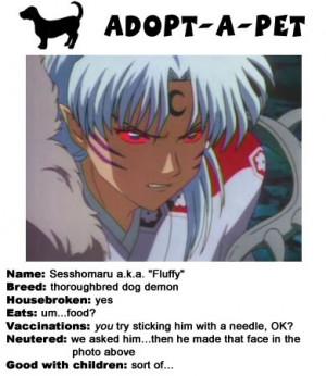 adobt a pet Sesshomaru