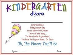 kindergarten graduation diplomaoh the places you ll goby dr seuss