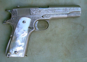 ... GUNS & SHOTGUNS - .45 CALIBER COLT AUTOMATIC - PEARL HANDLED