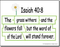 The grass withers, the flower fades, but God's Word stands firm and ...
