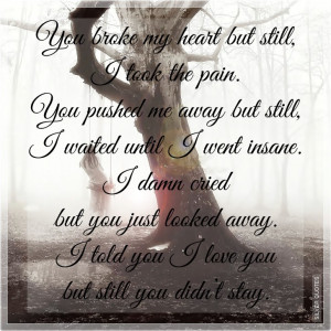 you broke my heart but still i took the pain you pushed me away but ...