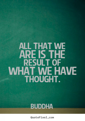 """All that we are is the result of what we have thought. """""""