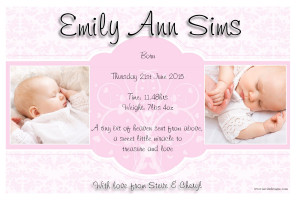 10 Baby Girl Birth Announcement PHOTO Cards N110