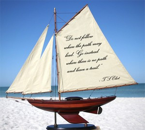 Wooden Sailboats with Quotes