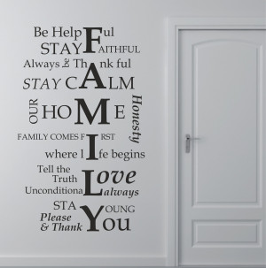 01 Family House Rules Quote Wall Art Sticker