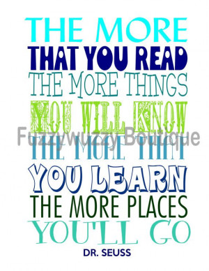 Dr. Seuss Reading Quote Printable Children's Art - Blues and Greens on ...