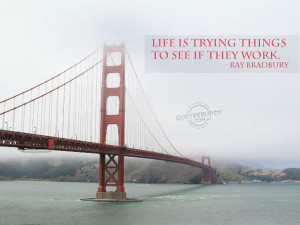 Life Is Trying Things To See If They Work - Inspirational Quote