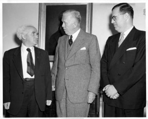 Israeli Prime Minister David Ben Gurion left and Ambassador Abba