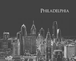 Philadelphia Skyline Print. $35.00, via Etsy.