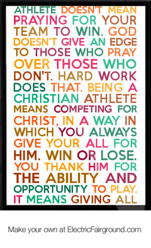 Being a Christian athlete doesn't mean praying for your team to win ...