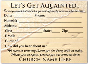 Welcome for Church Visitors Cards Templates