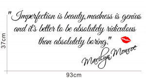 IMPERFECTION IS BEAUTY-MARILYN MONROE WALL STICKER QUOTE DECAL ART ...