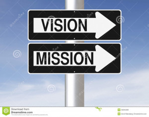 ... one way street signs on a pole indicating Vision and Mission