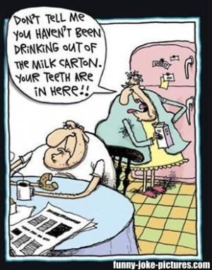 Funny Old Man Drinking Milk Carton Teeth Cartoon Image Picture Joke ...