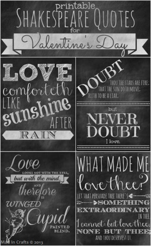Daily Free Printable: Shakespeare Love Quote Chalkboard Prints (by Mad ...