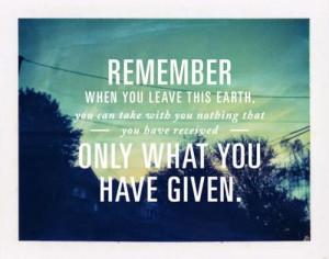 Generosity changes the heart