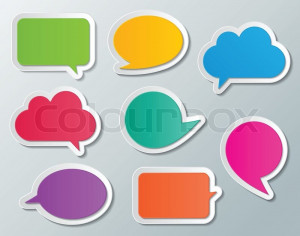Set of blank multi colored paper speech bubbles. infographic elements ...