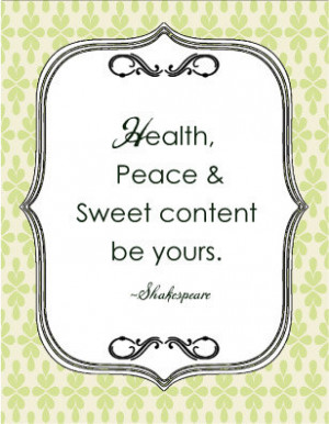 Shakespeare Quote Christmas Card - Health Peace and sweet content be ...