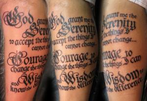 Amazing Serenity Prayer Tattoo