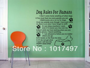 Dog Rules For Humans Wall Art Quote Decal Mural Stickers,cute love dog ...