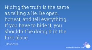 Hiding the truth is the same as telling a lie. Be open, honest, and ...
