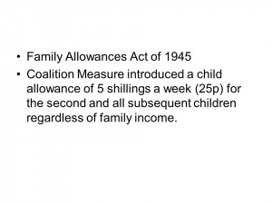 Family Allowances Act of 1945 Coalition Measure introduced a child ...