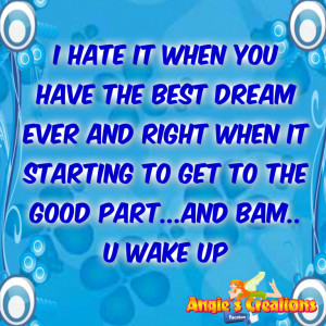 Hate it when you have the best dream ever and right when it starting ...