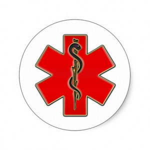 Medical Caduceus Round Stickers - 4 purchased