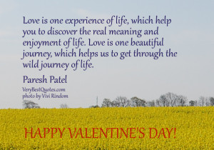 beautiful love quotes, Valentine's Day Quotes, Love is one experience ...