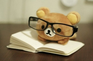 adorable, aww, book, cute, glasses, humour, teddy