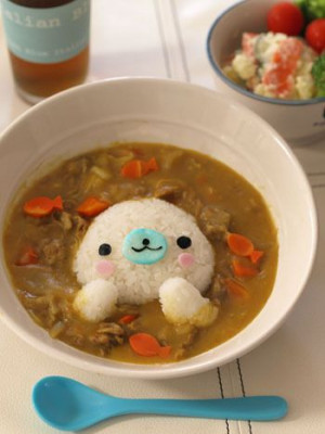 Little seal rice curry: Fun Food, Rice Curries, Mamegoma Curries, Rice ...