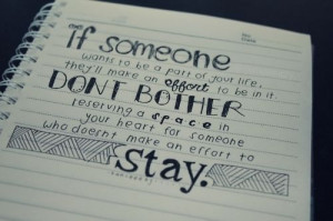 ... , effort, friendship, heart, love, quote, relationship, someone, stay