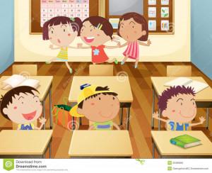 Abbildung, die der Kinder studieren im Klassenzimmer ist.