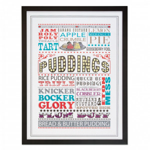 Framed British Puddings Print by I Love Retro at Bouf.com