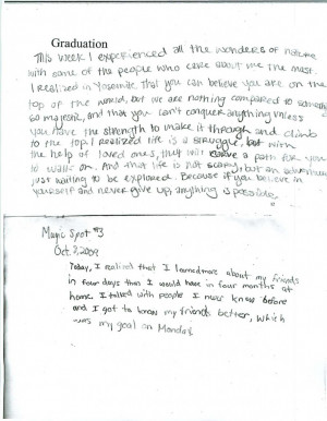 """... how beautiful is the wind!"""" (Quote from student's writing below"""
